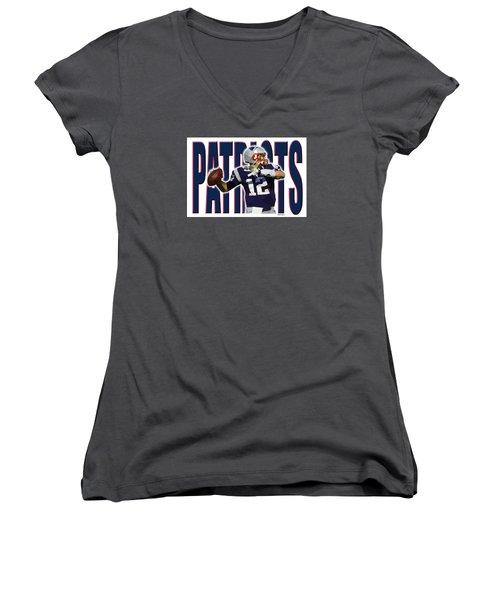 New England Patriots Women's V-Neck T-Shirt (Junior Cut) by Stephen Younts