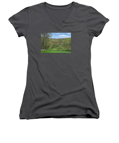 Women's V-Neck T-Shirt (Junior Cut) featuring the photograph New England Spring Pasture by Bill Wakeley