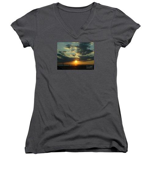 New Horizon Women's V-Neck T-Shirt (Junior Cut) by Lyric Lucas