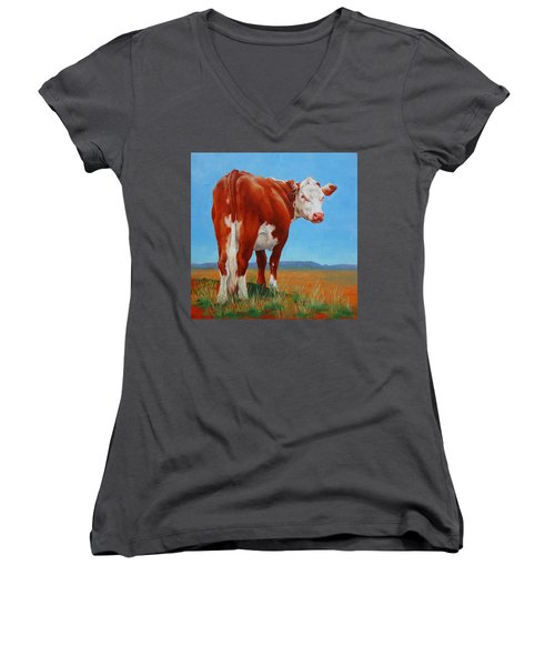 Women's V-Neck T-Shirt (Junior Cut) featuring the painting New Horizons Undecided by Margaret Stockdale
