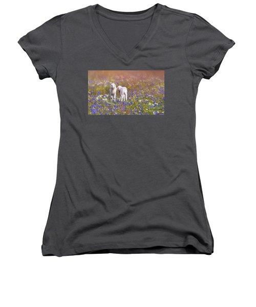New Life Women's V-Neck T-Shirt (Junior Cut) by Eva Lechner