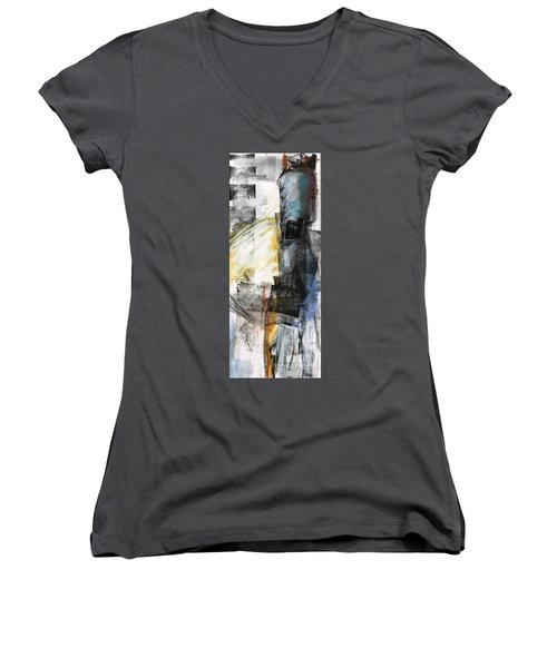 New Mexico Horse Art Women's V-Neck T-Shirt (Junior Cut) by Frances Marino