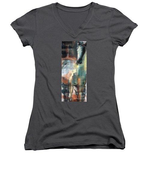 New Mexico Horse Three Women's V-Neck T-Shirt (Junior Cut) by Frances Marino