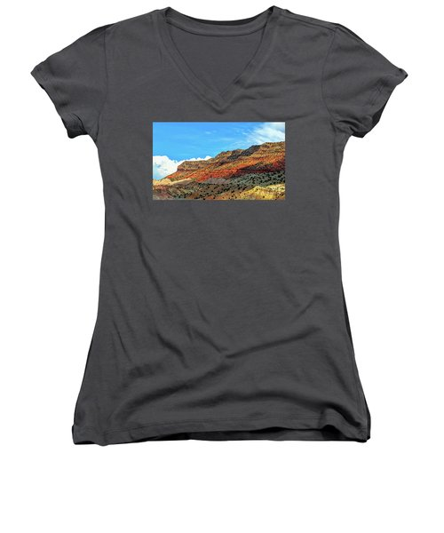 New Mexico Landscape Women's V-Neck T-Shirt (Junior Cut) by Gina Savage