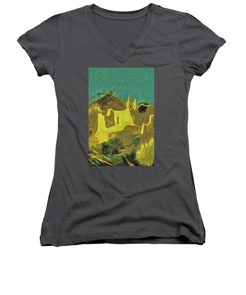 New Mexico Skyline Women's V-Neck (Athletic Fit)