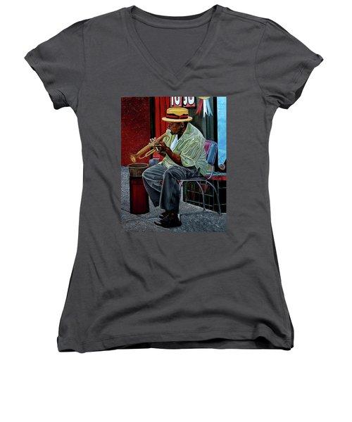 Bourbon Street Blues Women's V-Neck T-Shirt