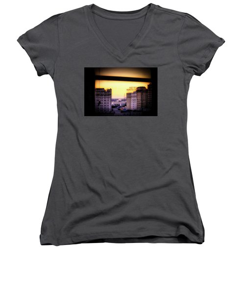 Women's V-Neck T-Shirt (Junior Cut) featuring the photograph New Orleans Window Sunrise by Jim Albritton