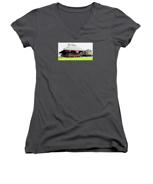 New Oxford Pennsylvania Train Station Women's V-Neck T-Shirt (Junior Cut) by Angela Davies