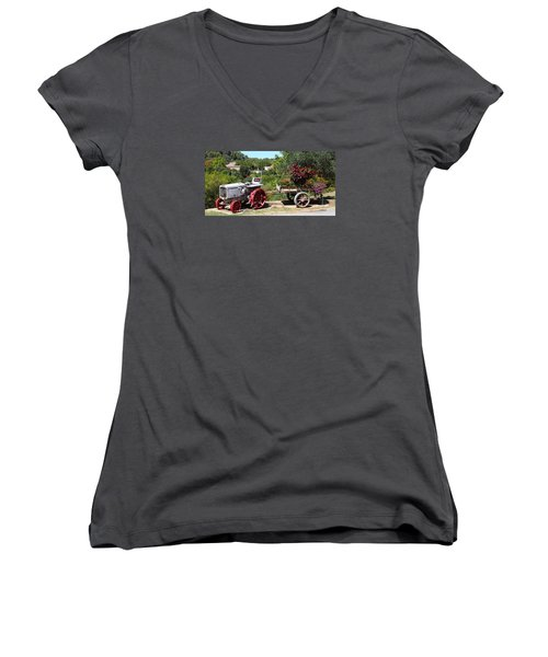 Women's V-Neck T-Shirt (Junior Cut) featuring the photograph New Pastures by Richard Patmore