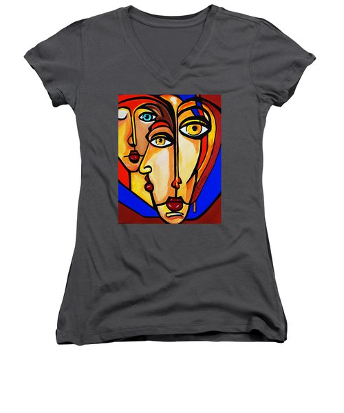 New Picasso By Nora Friends Women's V-Neck T-Shirt (Junior Cut) by Nora Shepley