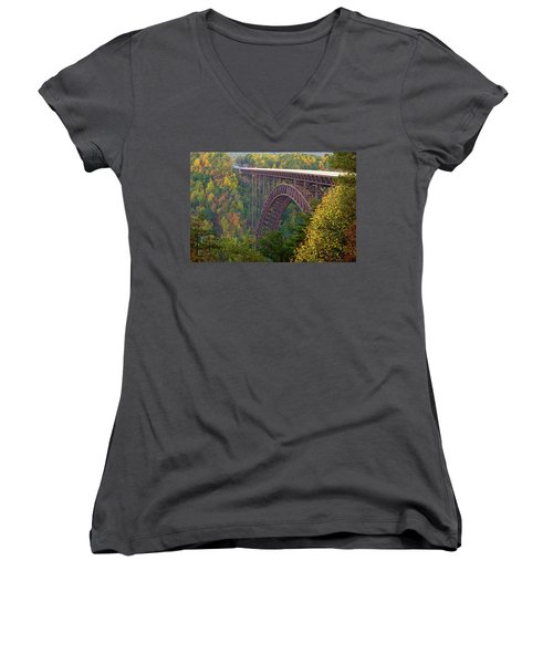 New River Gorge Bridge Women's V-Neck T-Shirt (Junior Cut) by Steve Stuller
