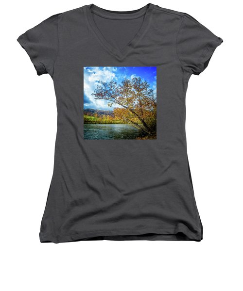 New River In Fall Women's V-Neck T-Shirt
