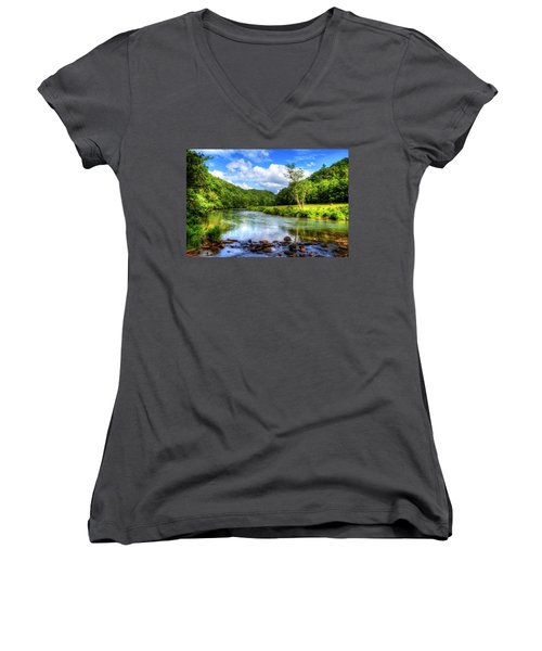 New River Summer Women's V-Neck T-Shirt (Junior Cut) by Dale R Carlson