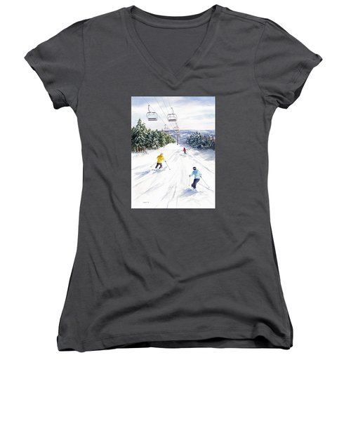 Women's V-Neck T-Shirt (Junior Cut) featuring the painting New Snow by Vikki Bouffard