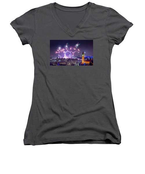 New Year Fireworks London Women's V-Neck (Athletic Fit)