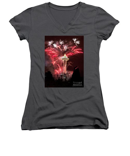 New Years At The Space Needle Women's V-Neck T-Shirt
