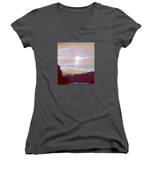 Women's V-Neck T-Shirt (Junior Cut) featuring the photograph New Year's Dawning Fire Rainbow by Anastasia Savage Ealy