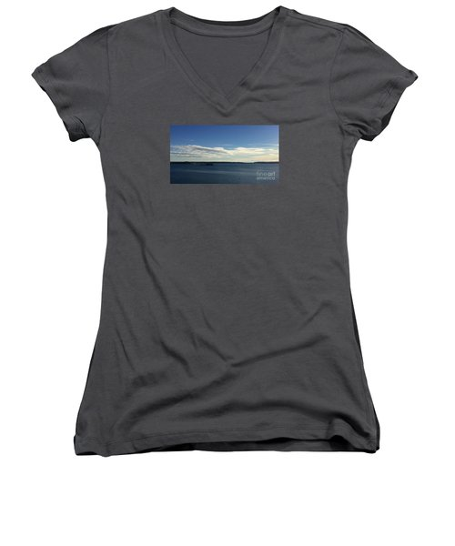 New Year's Day 2016 On Casco Bay, Portland, Maine Women's V-Neck T-Shirt (Junior Cut)