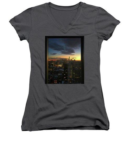 New York At Sunset Women's V-Neck T-Shirt