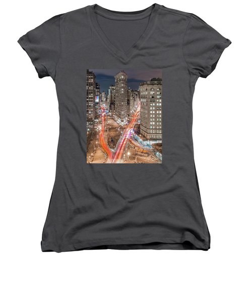 New York Big City Rush Hour Women's V-Neck T-Shirt