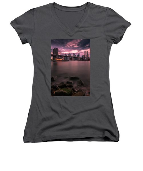 Women's V-Neck T-Shirt (Junior Cut) featuring the photograph New York City Brooklyn Bridge Sunset by Ranjay Mitra