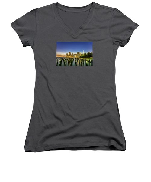 New York City From Brooklyn Women's V-Neck T-Shirt (Junior Cut) by Rafael Quirindongo