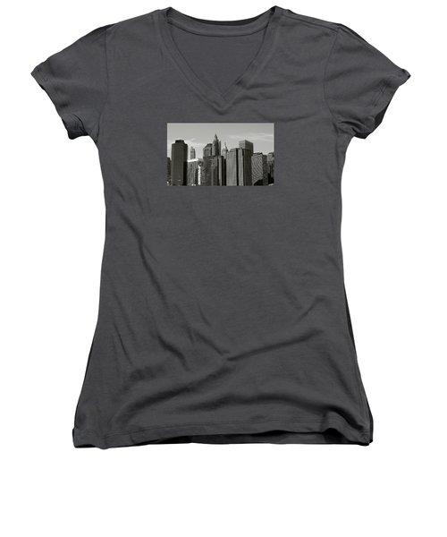 New York City Women's V-Neck T-Shirt (Junior Cut) by Helen Haw