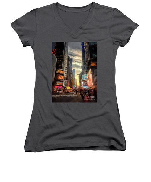 Women's V-Neck T-Shirt (Junior Cut) featuring the photograph New York City Lights by Lois Bryan