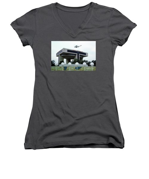 New York City Port Authority Helicopter Pad, New York World's Fa Women's V-Neck T-Shirt (Junior Cut) by Photovault