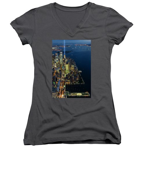 Women's V-Neck T-Shirt (Junior Cut) featuring the photograph New York City Remembers 911 by Susan Candelario
