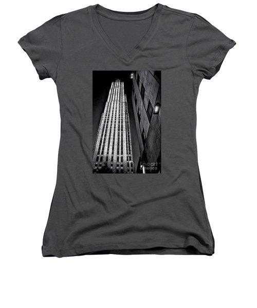 New York City Sights - Skyscraper Women's V-Neck T-Shirt (Junior Cut) by Walt Foegelle