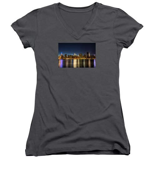 Women's V-Neck T-Shirt (Junior Cut) featuring the photograph New York City Skyline by Rafael Quirindongo
