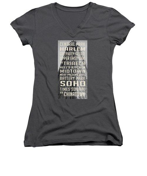 New York City Subway Stops Flat Iron Building Women's V-Neck T-Shirt (Junior Cut) by Edward Fielding