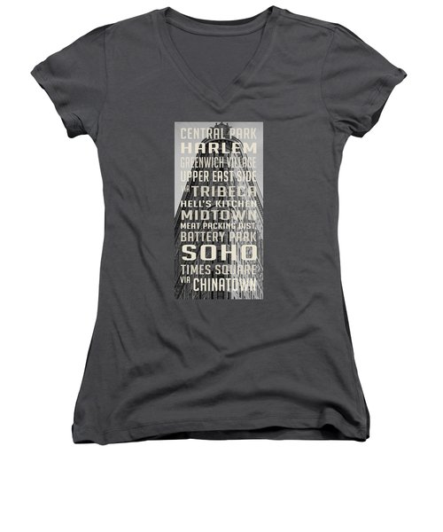 New York City Subway Stops Flat Iron Building Women's V-Neck (Athletic Fit)