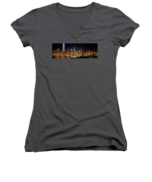 New York City Tribute In Lights And Lower Manhattan At Night Nyc Women's V-Neck T-Shirt