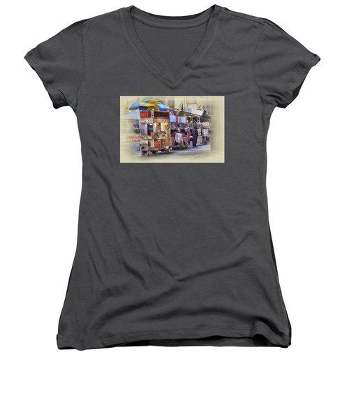 New York City Vendor Women's V-Neck T-Shirt (Junior Cut) by Dyle Warren