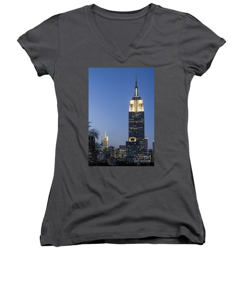 Women's V-Neck featuring the photograph New York Empire State Building  by Juergen Held