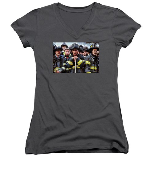 Women's V-Neck T-Shirt (Junior Cut) featuring the painting New York Firefighters After 9/11 by Kai Saarto