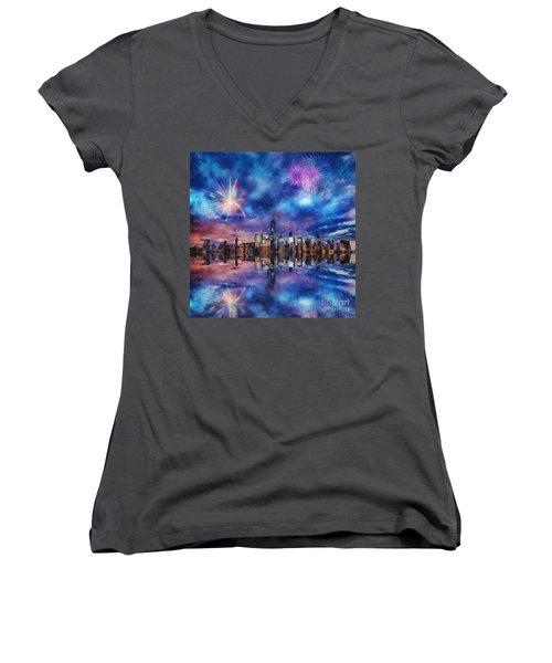 New York Fireworks Women's V-Neck T-Shirt