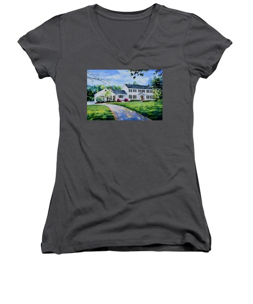 Women's V-Neck T-Shirt featuring the painting New York Home Portrait by Hanne Lore Koehler