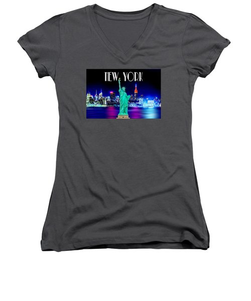 New York Shines Women's V-Neck T-Shirt (Junior Cut) by Az Jackson