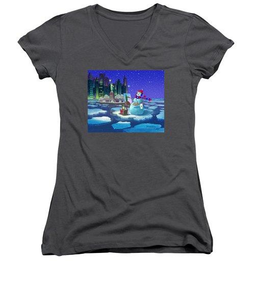 New York Snowman Women's V-Neck T-Shirt (Junior Cut)