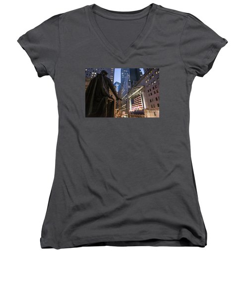 Women's V-Neck featuring the photograph New York Wall Street by Juergen Held