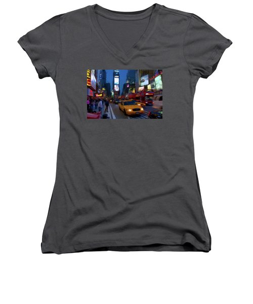 Women's V-Neck T-Shirt (Junior Cut) featuring the painting New York Yellow Cab by David Dehner