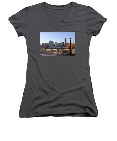 New York's Skyline - A View From Gantry Plaza State Park Women's V-Neck (Athletic Fit)