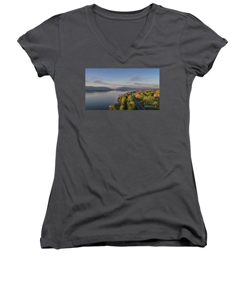 Newburgh Waterfront Looking South Women's V-Neck (Athletic Fit)