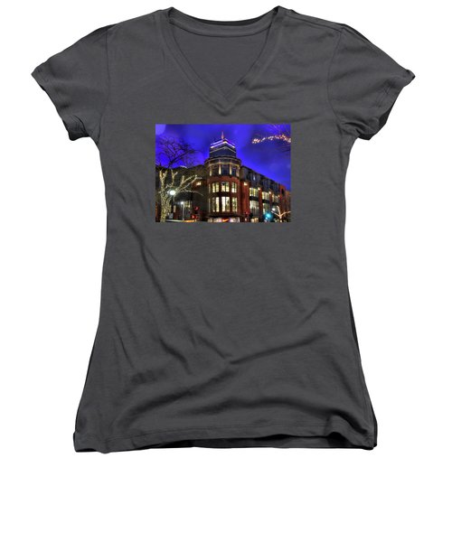 Women's V-Neck T-Shirt (Junior Cut) featuring the photograph Newbury Street And The Prudential - Back Bay - Boston by Joann Vitali