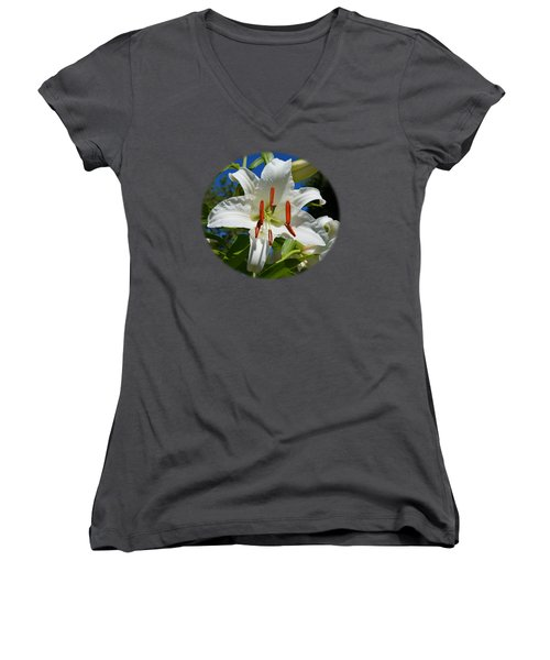 Newly Opened Lily Women's V-Neck T-Shirt (Junior Cut) by Nick Kloepping