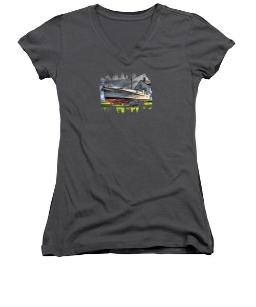 Newport Coast Guard Station Women's V-Neck T-Shirt (Junior Cut) by Thom Zehrfeld