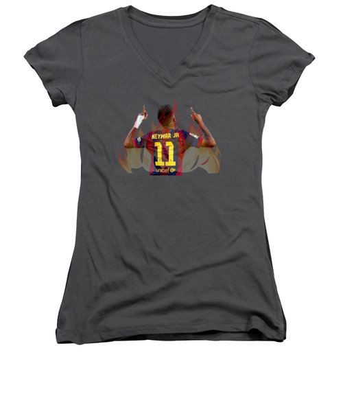 Neymar Women's V-Neck T-Shirt (Junior Cut) by Vincenzo Basile